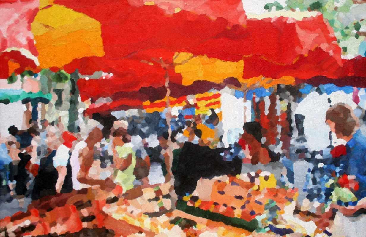 Markt in Céret 60 x 40 cm november 2014 Point d'art, Montbolo (Frankrijk)