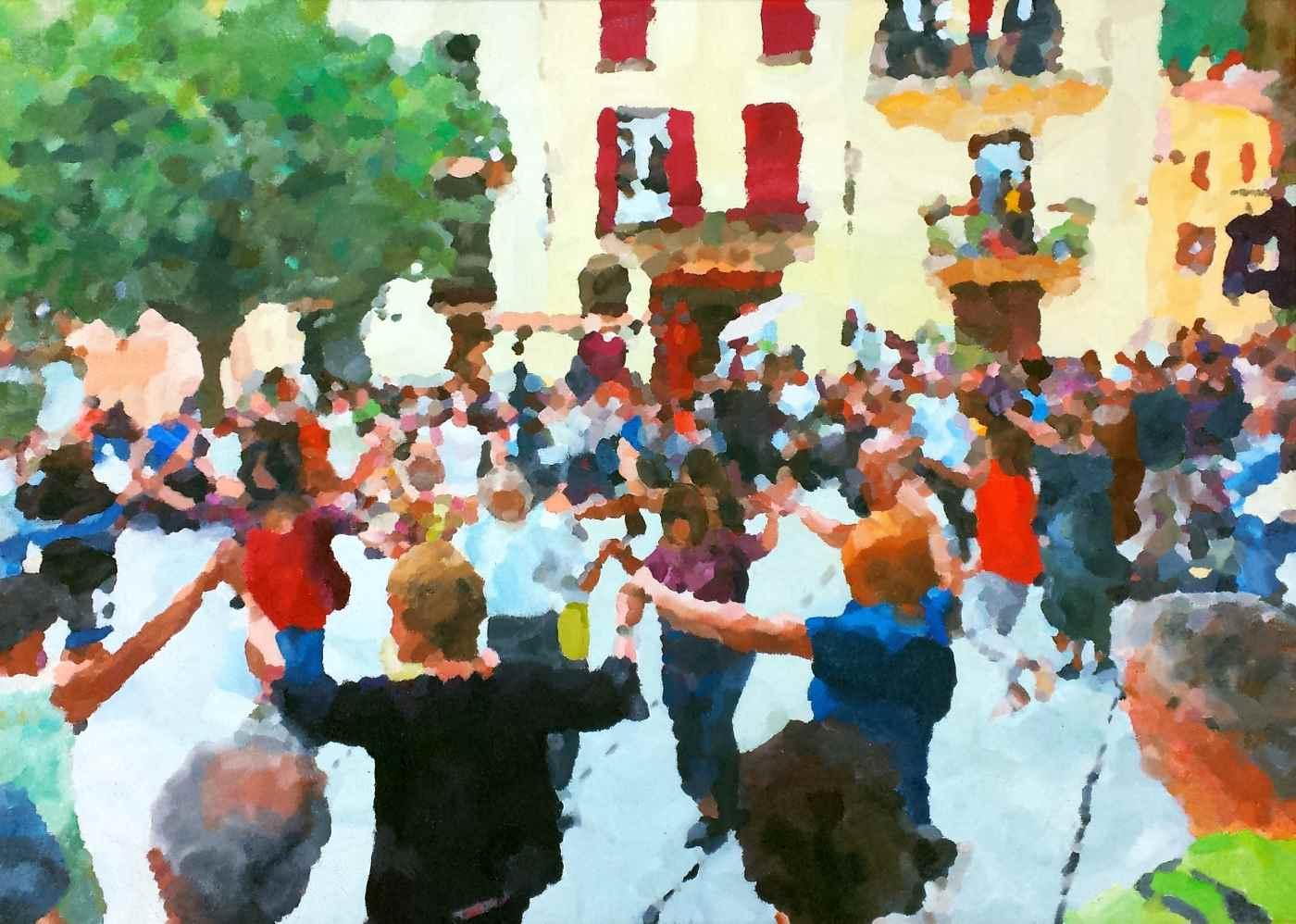 Sardana in Arles sur Tech 70 x 50 cm december 2015 € 275