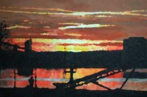 Zonsondergang in Asselt februari 2012 120 x 80 cm