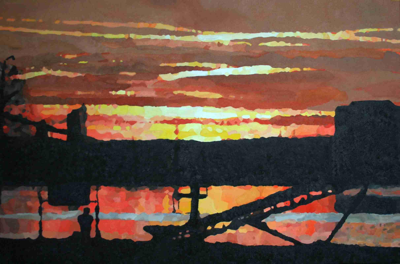 Zonsondergang in Asselt 120 x 80 cm februari 2012 € 470